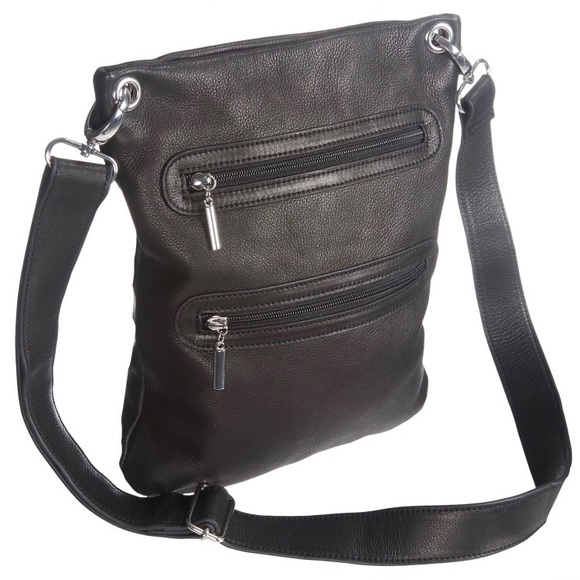 76e3e19b0e Margot New York Black Double Zip Leather Crossbody